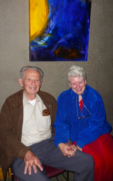 Photo of Sam and Mickie Orchard, inside a Red Cross shelter in Santa Rosa.