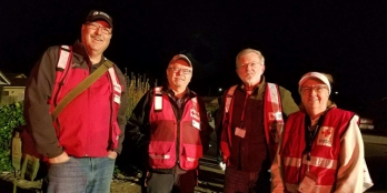Photo of four Red Cross volunteers who responded.