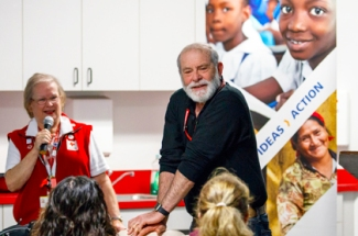 Photo of Red Cross people illustrating hands-only CPR