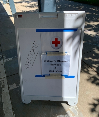 Welcome sign for Red Cross children's services