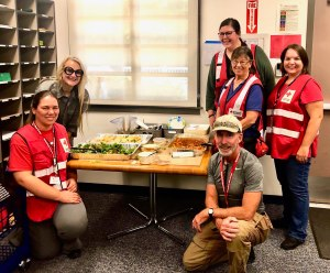 Red Cross workers enjoy donated lunch