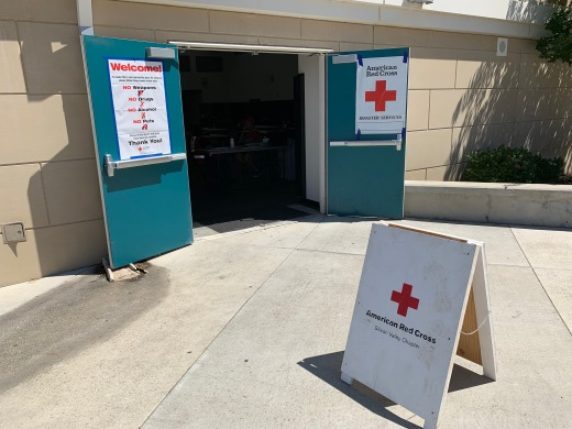 Red Cross shelter entrance